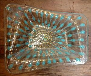 Vintage Mcm Higgins Art Glass Atomic Dish Classic Lines Signed Turquoise Gold