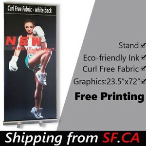 24x72 standard Retractable Roll Up Banner Stand Free Eco friendly Printing