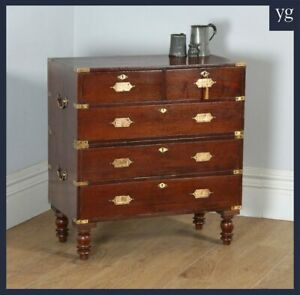 Small Antique Anglo Indian Teak Brass Military Campaign Chest Of Drawers C 1840