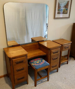 Antique Art Deco 1920s Bedroom Set Dresser Bench Nightstand Oak Angeles Furnitur