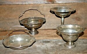 Mixed Lot Of Sterling Silver Weighted Compote Basket Scrap 578g