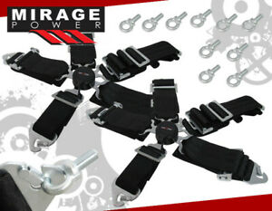 3 Pair Black Strap 5 Point Camlock Harness Racing Seat Belt Quick Click Release