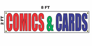Comics Cards Banner Sign 2x8 For Business Shop Building Store Front Book Game