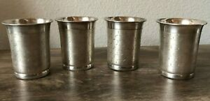 Vintage Set Of 4 Silver Mint Julep Cups Tumbler Cup