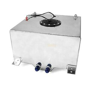 10 Gallon Oil Box Silver Aluminum Race Drift Fuel Cell Gas Tank Level Sender