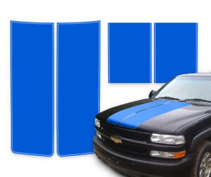 Chevy Tahoe Racing Stripes Hood Decals Blue With Blue Pinstripe 2000 2006