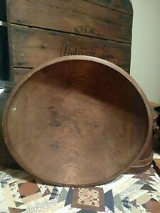 15 Primitive Dough Bowl Early Hand Turned Antique Wood Bowl With Rim Aafa