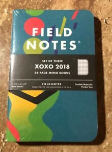 Field Notes Xoxo Festival 2018 Edition New Sealed 3 pack Memo Book Graph Paper
