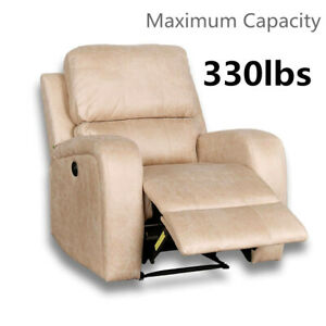 Recliner Chair With Quilted Padded Backrest Pull Tab Upholstered Manual Recliner