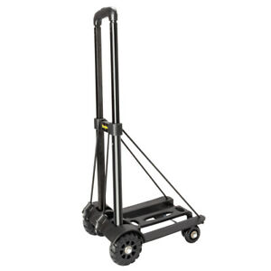 Folding Luggage Cart Push Dolly Hand Truck Trolley With 4 Fixed Wheels 2 Ropes
