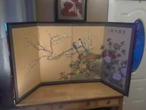 Vintage Japanese Original Painting On Silk 4 Panel Folding Screen Byobu 69 5x 35