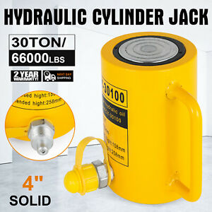 30 Tons 4 Solid Hydraulic Cylinder Jack Durable Single Acting Pressure Pump