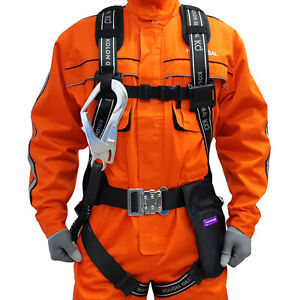 Safety Fall Arrest Protection Full Body Harness D ring Pad Belt Lanyard Combo