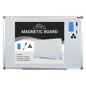 Magnetic Dry Erase Whiteboard W silver Frame Easy Mount 36 X 24