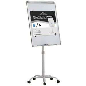 White Kaiman Mobile Chart Magnetic Dry Erase White Board Easel W adjustable H