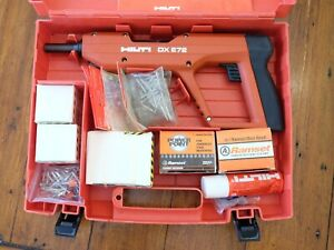 Hilti Dx E72 Powder Actuated Nailer Gun W Lots Of Fasteners Clean