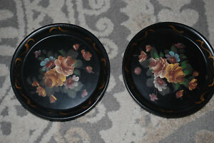 Vintage 1940s Matching Pair Hand Painted Hanging Tole Tray Wall Pockets Roses