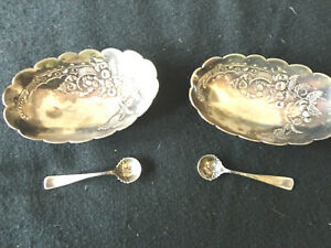 Two Sterling Salt Cellars Embossed Knome Woodland Creature 2 Spoons