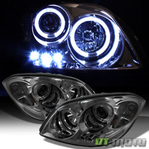 Smoked 05 10 Chevy Cobalt Pontiac G5 Halo Projector Led Headlights Left right