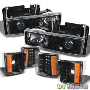 94 99 Chevy C10 C k Tahoe Suburban Black Projector Headlights corner Lamps