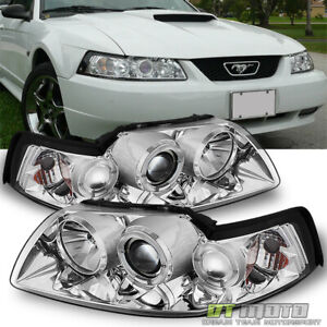 99 04 Ford Mustang Dual Halo Projector Clear Headlights Lights Lamps Left Right