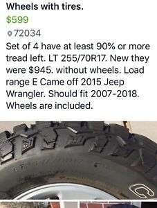 Jeep Wrangler Tires And Wheels Lt255 70r 17