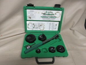 Greenlee Knockout Punch Set 7238sb W Ratcheting Box And Wrench Slug Buster