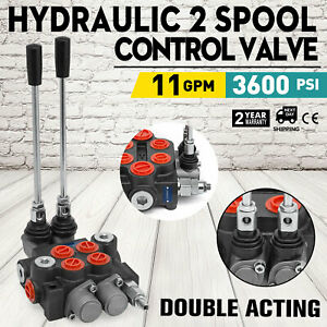 2 Spool Hydraulic Directional Control Valve 11gpm 4300psi Motors Cylinder Spool