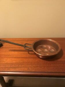 Antique Copper Egg Pan With Hand Wrought Iron Handle