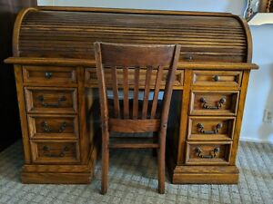 Vintage Solid Oak Wood Roll Top Desk With Chair