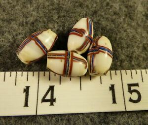 4 Indian French Cross Fur Trade Beads 150 Years Old French Flag Colors