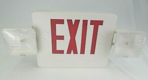 Lightworld Exit Sign And Emergency Light Combination With Battery Backup 120v