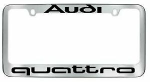1x Quattro Stainless Steel License Plate Frame Cover Rust Free W Caps For Audi