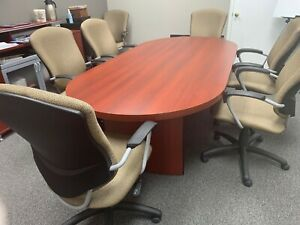 8 Oval Conference Room Table With 6 Sideboard Cabinet And 8 High Back Chairs