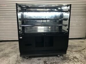 48 Dry Glass Bakery Display Case On Wheels Lights 9489 Bread Donut Retail Rack