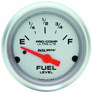 Autometer Ultra Lite Electrical Fuel Level Gauge 2 1 16 Dia Silver Face 4314