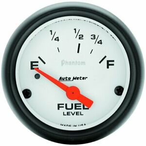 Autometer Phantom Electrical Fuel Level Gauge 2 1 16 Dia White Face 5715 73 10