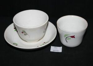 Thriftchi Hand Painted Vintage Softpaste Cups Saucer Unmarked