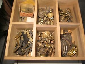 Vintage Lot Of Furniture Parts Dresser Pulls Antique Hinges Knobs Chippendale