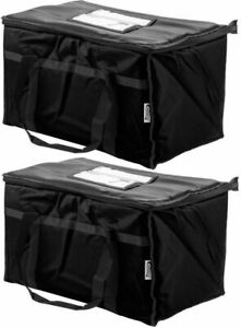 Two Insulated Black Catering Delivery Food Full Pan Carrier Hot Cold Cooler Bag