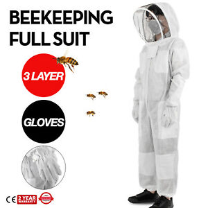 3 Layers Beekeeping Full Suit Astronaut Veil W Gloves Ventilated Apiary Cotton