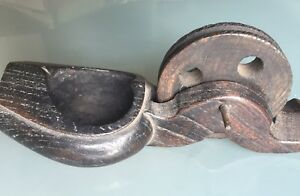 Antique Early 20th Century China Japan Black Wood Shoes Thread Winder As Part