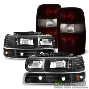 2004 2006 Chevy Suburban Tahoe Blk Headlights bumper Lamps red Smoke Tail Lights