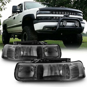 Smoke 99 02 Chevy Silverado 00 06 Tahoe Suburban Headlights Headlamps Left right