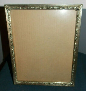 Unique Vintage Detailed Footed Brass Metal 8 X 10 Picture Photo Frame