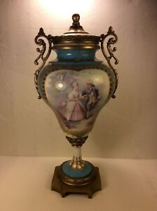 Antique Sevres Style Hand Painted Porcelain Urn Vase Bronze Mounted 14