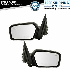Mirror Power Heated Puddle Textured Black Pair Set For 06 10 Ford Focus New