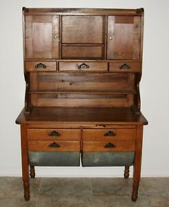 D63 Antique Oak Possum Belly Bakers Cabinet Hoosier