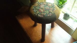 Antique Foot Stool Round W Floral Needlepoint Tall 13