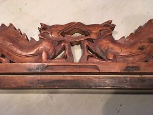 Japanese Hand Carved Wood Dragons Ranma Hori Double Dragon Buddhist Altar